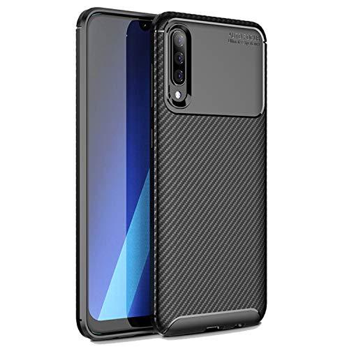 Samsung Galaxy A50 Hülle Carbonfaser - Zwei Schichten - Aktive Stoßdämpfung - Fallschutz - Olixar Carbon Fibre - Induktives Laden Möglich - Schwarz