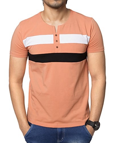 Zeyo Mens Round neck Half Sleeve Tshirt Peach Regular Fit Stylish T-shirt