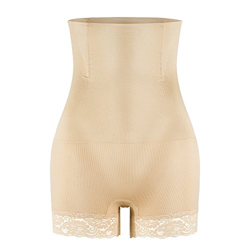 KSKshape Hi-waist Shapewear Tummy Control Body Shaper Seamless Thigh Slimming Boyshort for women Tag XL/XXL=KSKshape Size XL beige (Nylon-boyshort)