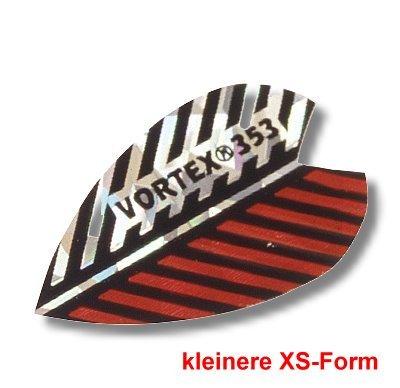 Dartfly Vortex, Form XS (kleinere Form), rot-weiß. Der Preis gilt per Set (3 St.) Vortex-Flys bestehen aus einer Aluminium-Beschichtung mit einer auffällig geprägten Wellenstruktur. Verschiedene Vogelfedern