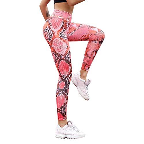 MOTOCO Frauen-Leggings mit Schlangenmuster und hohem Bund und Engen Taillenhosen Größe 38-46(XL,Rot)