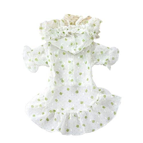 Tianya Kleine Größe Hundebekleidung atmungsaktive Kleidung leichtes atmungsaktives niedliches Kleid schöne starke Gesundheit (Grün) - Duschvorhang Kleid