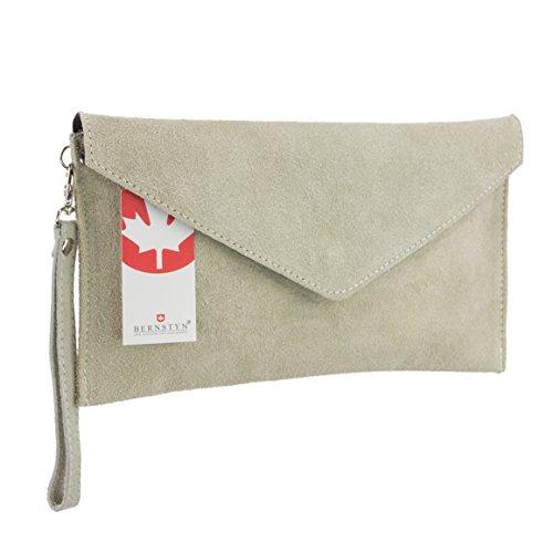 BERNSTYN Damen Handtasche Clutch (Abend- & Partytasche) - Echtes Wildleder