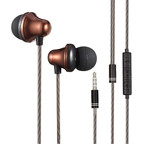 OuTera Écouteurs intra-auriculaire Anti-bruit ergonomique oreillette filaire stéréo avec Microphone intégré &multifonction compatible avec iPhone, iPod, iPad, Android Smartphone, Tablet, MP3 etc.