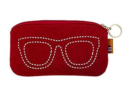iSuperb® Brillenetui Sonnenbrillen Modern Brille Sonnenbrille schutzbrillen Lagerung Tasche Filz Tragetasche mit Reißverschluss (Wein)