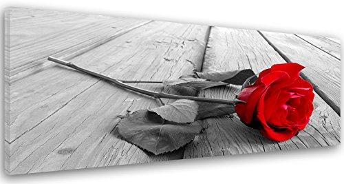 Feeby Frames, Tableau imprimé XXL, Tableau imprimé sur Toile, Tableau Deco, Canvas 40x120 cm, Planches, Rustique, Rose, Rouge, Gris