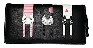 Nawoshow Women Wallet Cute Cat Wallet Bifold Long Purse with Zipper