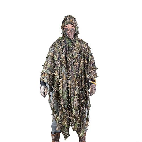 Qnlly Outdoor 3D lässt Tarnung Ghillie Poncho Camo Cape Mantel Stealth Ghillie Anzug Militär CS Woodland Jagd Poncho Regen Poncho Loogu Woodland Camo Poncho Liner