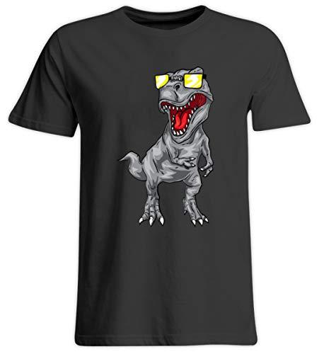 Shirtee Cooler Tyrannosaurus Rex - Dinosaurier Dino T-Rex Urzeit Archäologie Sonnenbrille Coolness - Übergrößenshirt -4XL-Tief Schwarz