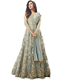 AnK Women's Net Embroidered Long Anarkali Semi-Stitched Salwar Suit