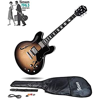 benson es double cutaway semi acoustic hollow body electric guitar package vintage sunburst. Black Bedroom Furniture Sets. Home Design Ideas