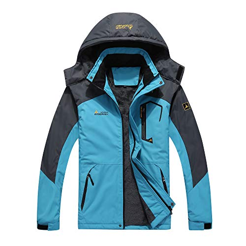 41BpImFAg0L. SS500  - Women Softshell Jacket, 3 in 1 Waterproof Mountaineering Jackets with Fleece Thick Warm Outdoor Hooded Coat Camping Hiking Skiing Travel Windproof Coat