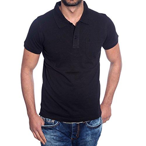basic poloshirt herren polohemd polo shirt hemd shirt t-shirt männer A6615RN Schwarz