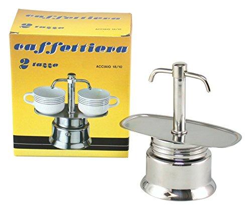 Bialetti Espresso Kaffeemaschine mit Zwei Ausgüssen, für 2 Tassen, Edelstahl, Grau
