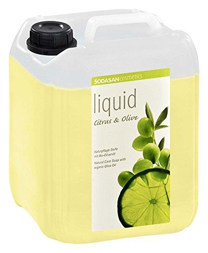SODASAN LIQUID Citrus-Olive 5 Liter Kanister - ökologische und zertifizierte Flüssigseife mit Bio-Olivenöl, natürlicher Duft durch reine ätherische Öle (Olive Bio-seife)