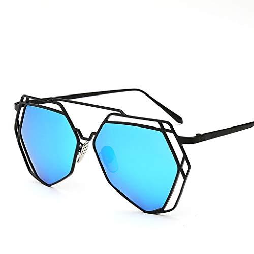DFZJJ Sonnenbrillen- Metallrahmen-Sonnenbrille weibliches Polygon unregelmäßige Sonnenbrille heißer Abschnitt unregelmäßige Persönlichkeit (Color : Blue, Size : 14.2cm)