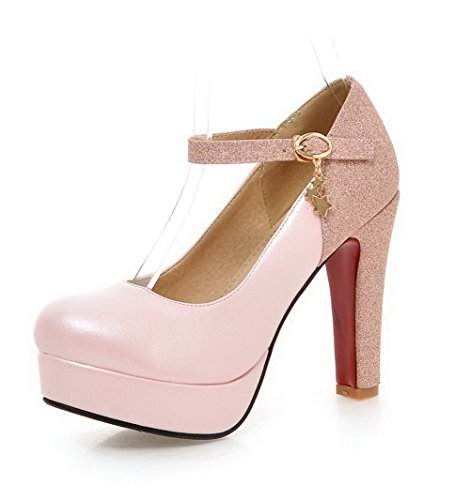 AgooLar Damen Schnalle Rund Zehe Hoher Absatz Blend-Materialien Rein Pumps Schuhe Pink