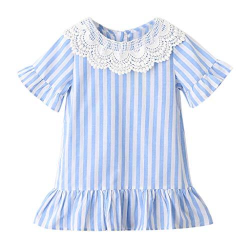 VJGOAL Mädchen Kleider, Kinder Baby Sommer Süß Streifen Spitze Ausschnitt Kurze Ärmel Party Prinzessin Rock Dresses for Girl ()