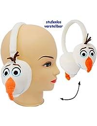 alles-meine.de GmbH 3-D Effekt _ Ohrenschützer - universal verstellbar -  Frozen / Disney die Eiskönigin - Schneemann Olaf - WEIß  - aus Plüsch - für Kinder / Jungen & Mädchen ..