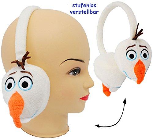 3-D Effekt _ Ohrenschützer - universal verstellbar - ' Frozen / Disney die Eiskönigin - Schneemann Olaf - WEIß ' - aus Plüsch - für Kinder / Jungen & Mädchen - Ohrwärmer - Mütze Winter - Prinzessin - völlig unverfroren - Elsa Arendelle - Kinderschmuck - Haare Zopf - Accessoires - Mitgebsel - Ohrschützer - Ohrenwärmer / Plüschohrwärmer - Stirnband - Erwachsene - Plüsch3-D Effekt _ Ohrenschützer Ohrenschutz - Fleece -Mädchen3-D Effekt _ Ohrenschützer