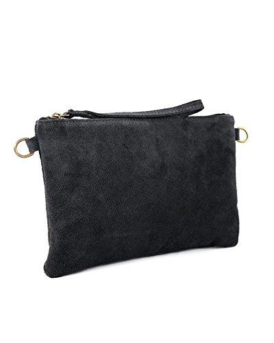 3c4689e52e2a5 Leder Clutch schwarz kleine Ledertasche Wildleder Umhängetasche Abendtasche  klein Partytasche Handtasche Lederhandtasche 31-bl Schwarz