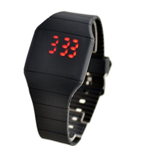 joyliveCY Relojes De Moda Para Hombre Mujer Pantalla Táctil Digital Led De Silicona Reloj Deportivo Negro Negro