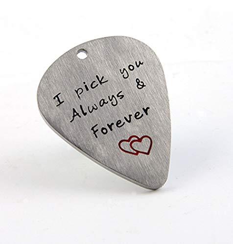 Metall Gitarre Plektrum Plektron Geschenk für Ihn Männer Geburtstag Geschenk für Musiker Musiker Geschenk Jahrestag Valentinstag Weihnachten Geschenk I Pick You Always & Forever Keychain