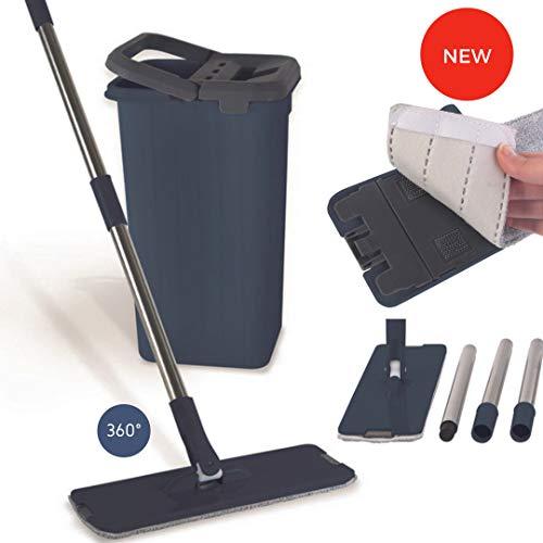 Seau Essoreur Balai Microfibre Rotatif 360° avec double bac | Balai serpillère mop pour tout type de nettoyage avec recharge | Lave sol avec pad | Set professionnel Complet