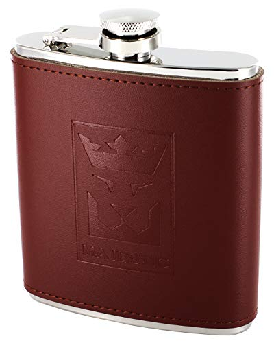 Majestic Edelstahl-Flachmann in Exklusiver Geschenkbox - mit praktischem Einfülltrichter - Braune Leder-Ummantelung - Sicherer Schraubverschluss - 200ml - 7oz