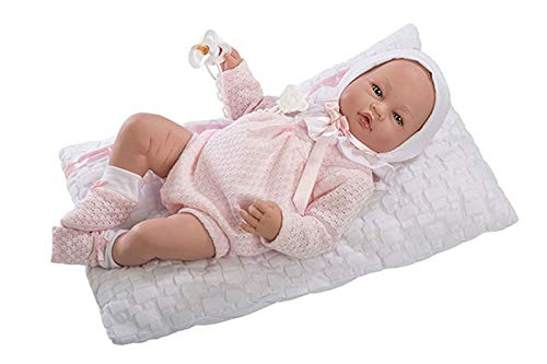 Munecas Guca 500 Vera - Muñeca de bebé (Piel Rosa y Almohadilla Blanca, 46 cm)