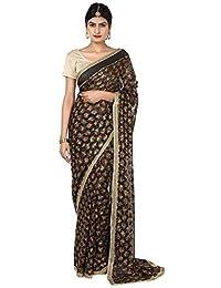 Ethnic Bliss Lifestyles Women's Chiffon Saree (Ebl-Phksr-Mc-Blk-01A_Black)