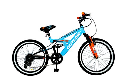 Concept Outlaw 20″ Boys Full Suspension Mountain Bike – 10″ Frame – 6 Speed, Blue