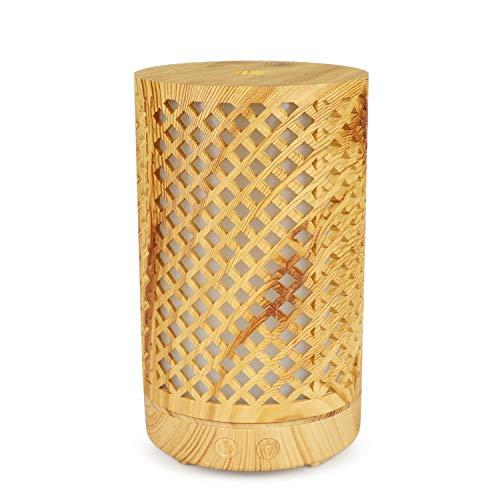 JIAHE Máquina de aromaterapia de bambú de 100 ML/Luz de Noche de atmósfera Colorida casera/Humidificador Hueco, Adecuado para la Familia, Oficina, SPA, Yoga