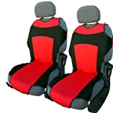 CSC301 -Funda para asiento de coche con forma de camiseta, Cojín para asiento de coche, Funda Cubierta Protector Asiento de coche, respaldo asiento Negro/Rojo (1 par)
