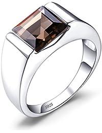 Jewelrypalace Homme 2.2ct Véritable Quartz Fumé Bague de Mariage en Argent 925