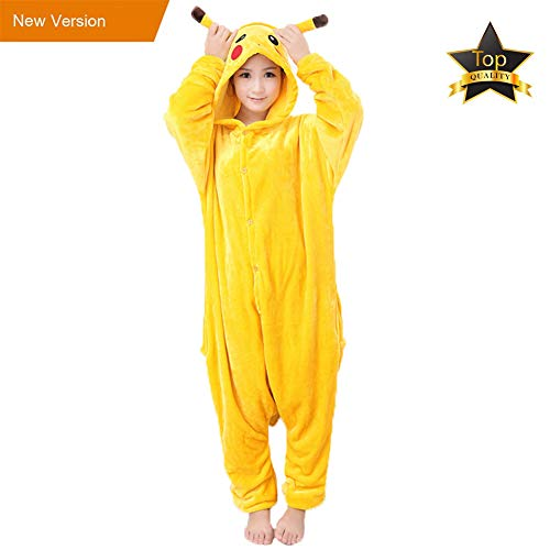 Pyjamas Kinder Erwachsene Einhorn Einteiler Tieranzüge für Junge Mädchen Damen Herren (L, Pikachu Erwachsene)