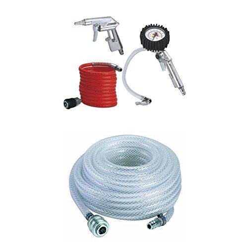 Einhell Druckluft Set, 3-teilig Passend für Kompressoren (4 m Spiralschlauch, Reifenfüllmesser, Ausblaspistole Kurz) + Gewebeschlauch Passend für Alle gängigen Kompressoren (Länge Schlauch 15 m)