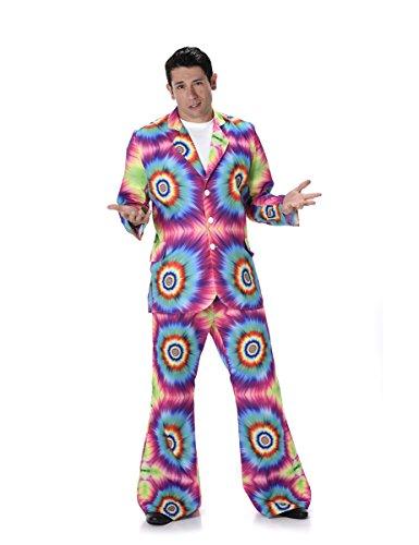 Dye Tie Anzug (Karnival Costumes  - Hippie Kostüm Tie-Dye für Herren Taille)