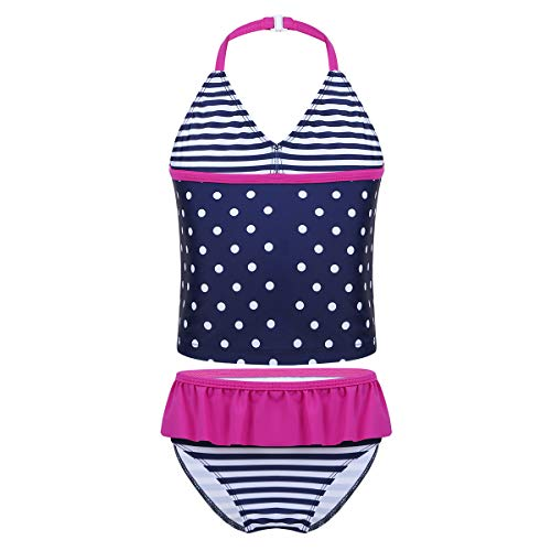 Freebily Mädchen Tankini Set Badeanzug Zweiteiler Bikini Bademode Neckholder Schwimmanzug Kinder Badebekleidung Sommer Urlaub in Gr.110-176 Rose&Marine 134-140/9-10Jahre