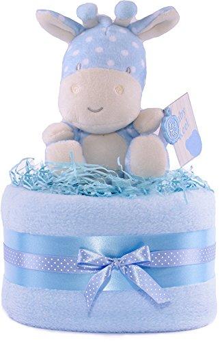 PureNappyCakes–Cesta regalos bebés azul blanca