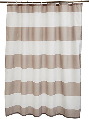 Amazonbasics - tenda da doccia in tessuto con motivo stampato a righe, 180 x 200 cm, colore: grigio