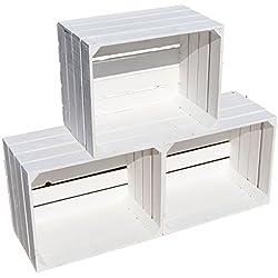 Juego de 3 cajas de madera en blanco - 49x 42x 31cm