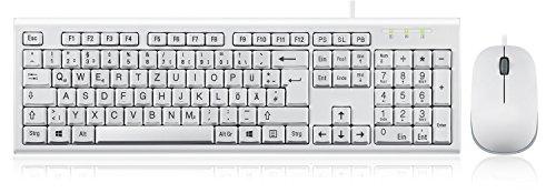 Perixx PERIDUO-211 Tastatur und Maus Set Kabelgebunden - Vergrößerte Buchstaben - QWERTZ Deutsches Layout - Weiß