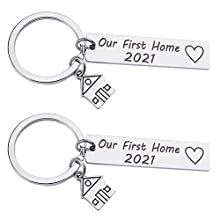 Amosfun Our First Home 2021 Keychain Stainless Steel Couples Keychains Matching Keyring New Home Housewarming Gifts Key Rings Bag Hanging Ornaments 2pcs