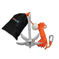 BeGrit Small Boat Anchor Kit Folding Grapnel Anchor Carbon Steel for Canoe Jet Ski SUP anchor 3.3 lb with 32.8 ft ø 6 mm Anchor Line Carrying Bag