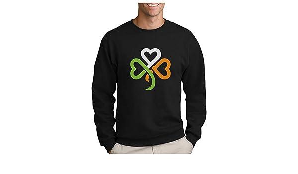 St Patrick Irish Green Clovers Heart Sweatshirt Capuche Femme
