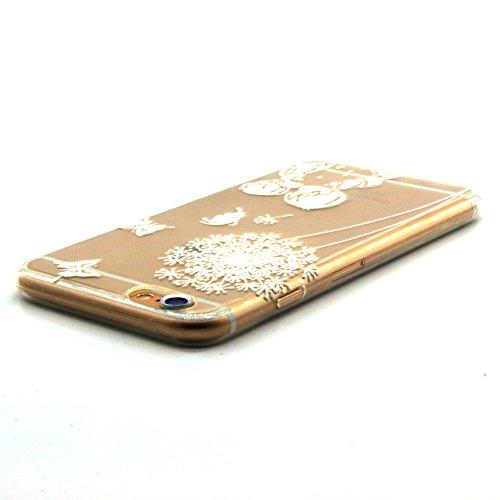 Pour iPhone 5 5S 5G / iPhone SE Coque,Ecoway Housse étui en TPU Silicone Shell Housse Coque étui Case Cover Cuir Etui Housse de Protection Coque Étui –Fleurs roses Couple de pissenlit