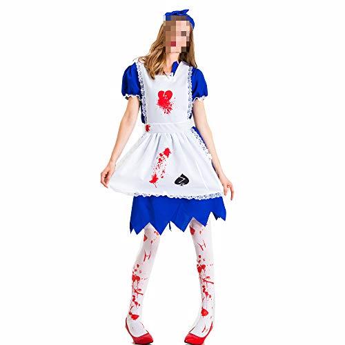 kMOoz Halloween Kostüm,Outfit Für Halloween Fasching Karneval Halloween Cosplay Horror Kostüm,Halloween Horror Bloody Maid Mit Zombies Ghost Festival Party Kostüme (Ghost Maid Kostüm)