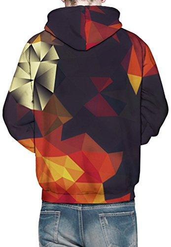 Bettydom Herrn Slim Fit mit bunt 3D Aufdruck Geschmack Weihnachten Unisex Sweatshirt Kapuzenpullover Hoodies Langarm Top Jumper Shirt Multicolor Dreieck