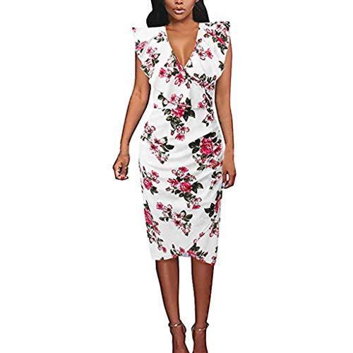 leid mit V-Ausschnitt Rüschen Ärmellos Elegant Bleistift-Kleid Schlank Blumen Tunikakleid Party Abendkleider ()